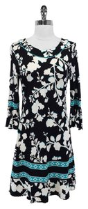 BCBGMAXAZRIA short dress Black & Teal Floral Print on Tradesy