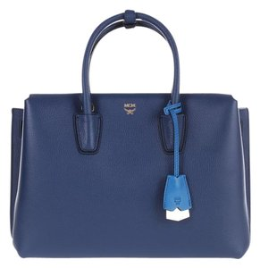 MCM Leather Tote in Navy
