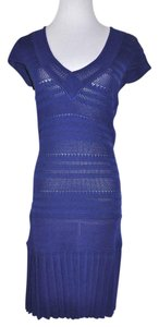 Catherine Malandrino short dress Blue Pleated Perforated on Tradesy