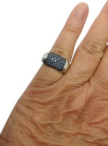 David Yurman sterling silver, blue sapphire, Unisex, fashion, wide band / ring