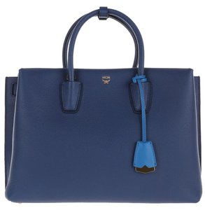 MCM Leather Milla Tote in Navy Blue