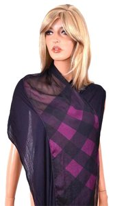 Burberry NEW BURBERRY KATEY MODAL SILK LOGANBERRY SHEER PANELED NOVA CHECK SCARF
