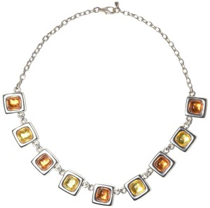 Other Sterling Silver Plated Resin Square Necklace