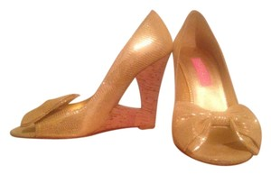 Betsey Johnson Cork Cutout Bow Gold Wedges