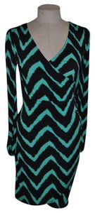INC International Concepts Chevron Ruched Sheath Crossover Zig-zag Dress