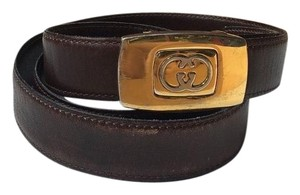 Gucci Vintage GUCCI Button GG Belt Brown Leather ITALY! Fully Adjustable! S M L * RARE