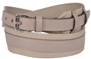 Gucci New Gucci Men's $340 341744 BEIGE Fabric Leather Logo Buckle Belt 42 105