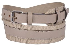 Gucci New Gucci Men's $340 341744 BEIGE Fabric Leather Logo Buckle Belt 40 100