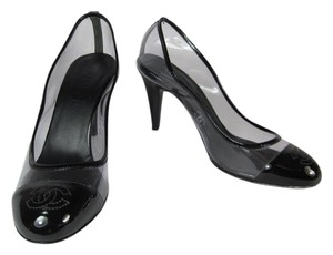 Chanel Black Leather Clear Cc Heels Pumps