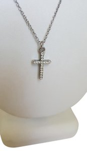 Silver White Crystal Cross Necklace