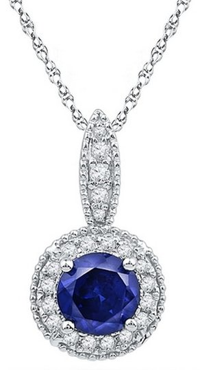 "Other 18"" Ladies Luxury Designer 10k White Gold 1.65 Cttw Diamond & Blue Sapphire Gemstone Pendant Fashion Necklace By BrianGdesigns"