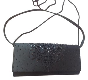 Preston & York Beaded Satin Formal Evening Black Clutch