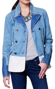 Anthropologie Color-blocking NWT Blue + White Womens Jean Jacket