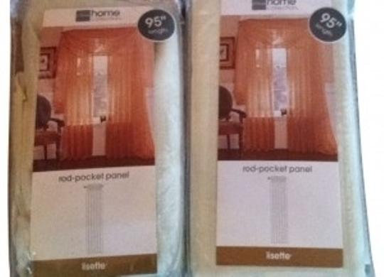 Other Two sheer rod-pocket curtain drapery panels for wedding decorating bedroom cream New in Package Long 95