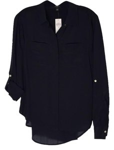 Ann Taylor Top Silk Navy blue