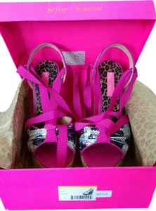 Betsey Johnson Silver black and pink Wedges
