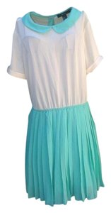 Forever 21 short dress Turquoise and Cream 21 Vintage Color-blocking Pleated Peter Pan Collar on Tradesy