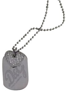 Dolce&Gabbana D&G Stainless steel Stone Heart Double Dog Tag Necklace