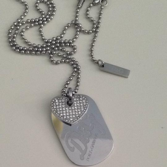 Dolce&Gabbana D&G Stainless steel Stone Heart Double Dog Tag Necklace Image 3