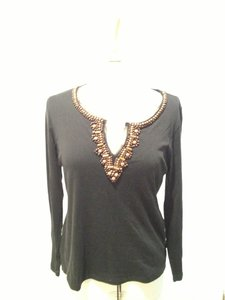 Lynn Ritchie Beaded Embellished Scalloped T Shirt Black