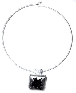 Sterling Silver Pewter Choker Flexible Necklace w/ hook and closure snap. Finishes: 24kt gold plated pewter, Sterling Silver Plated Pewter Nickel Free Dimensions: 7.5