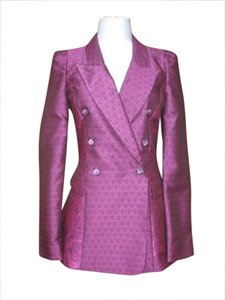 Roberto Cavalli Brocade Couture Jacket Double Breasted Purple Black Blazer