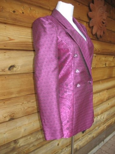 Roberto Cavalli Brocade Couture Jacket Double Breasted Purple Black Blazer Image 1