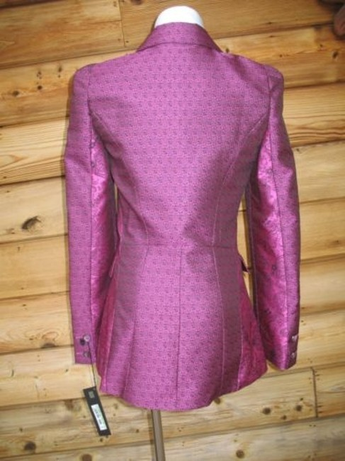 Roberto Cavalli Brocade Couture Jacket Double Breasted Purple Black Blazer Image 3