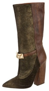 Missoni Studded Metallic Emerald and Brown Boots