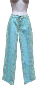 Just Cavalli Denim Print Metallic Straight Leg Jeans-Light Wash