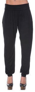 White Mark Harem Relaxed Comfortable Baggy Pants Black
