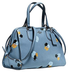 Coach Nolita Demi Blue 33735 Satchel in Crownflower print light gold