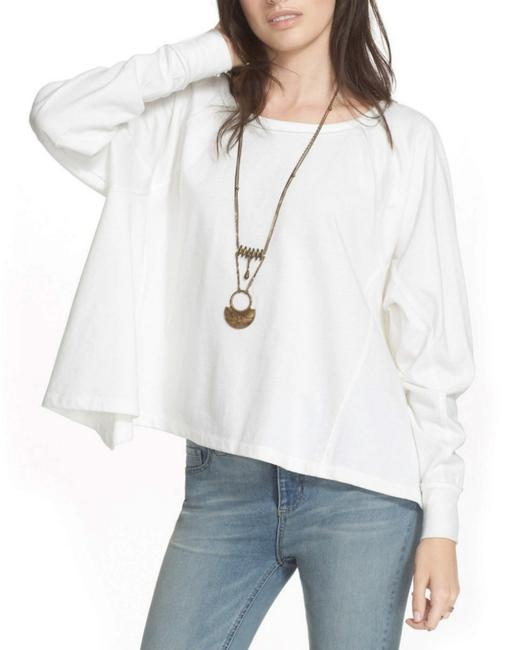 Free People Soft + Comfy Fitted Wrists Loose Torse Sharkbite Hem Slouchy T Shirt Ivory