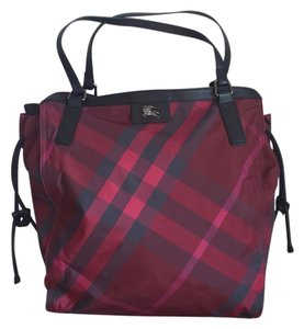 Burberry Tote in Maroon Plaid