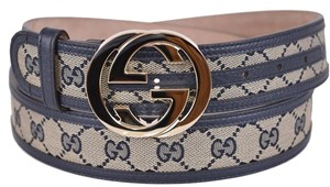 Gucci Gucci Women's 114876 Beige Blue Canvas Leather GG Guccissima Belt