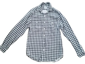 J.Crew Mens Double Cloth J Crew Button Down Shirt Black/white