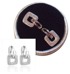 Other New White Austrian Crystal and White Gold Filled Door KnockerEarrings