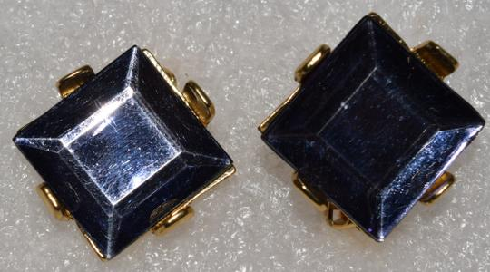 Other Pewter Square Faceted Resin Clip Style Earrings