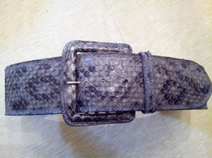 Carlos Falchi Grey Snakeskin Belt Wilh Rectangle Buckle