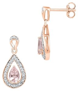 Ladies Luxury Designer 10k Rose Gold .50 Cttw Diamond & Morganite Gemstone Fashion Earrings By BrianGdesigns