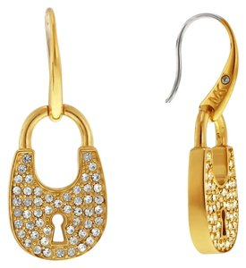 Michael Kors Michael Kors Women's Padlock Gold Tone Stainless Steel Glitzy Crystallized Drop Earrings MKJ4889710