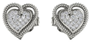 Elizabeth Jewelry 10Kt White Gold 0.10 Ct Diamond Heart Shape Stud Earrings