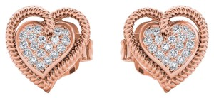 Elizabeth Jewelry 10Kt Rose Gold 0.10 Ct Diamond Heart Shape Stud Earrings
