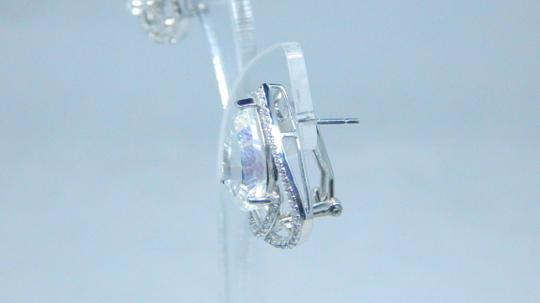 Mystic Sterling Silver. Appealing Mystic quartz French back Design in Halo Earring Setting