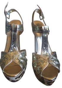 Guess Gold/ Animal Fur Print Sandals