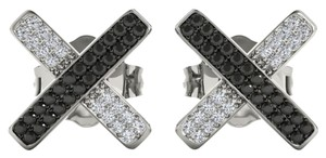 Elizabeth Jewelry 10Kt White Gold Black & White Diamond X Shape Stud Earrings