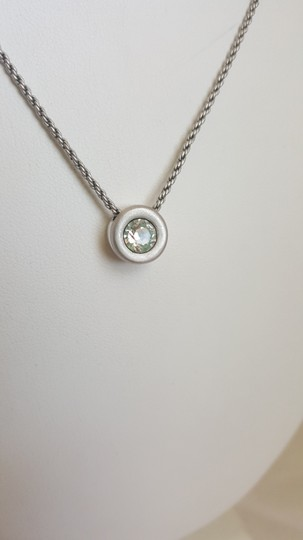 Other Gray/Silver Necklace with Round Crystal