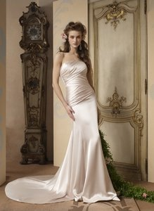 Alvina Valenta 9706 Liquid Silk Sexy Charmuse Strapless Slim Wedding Dress