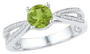 Other Ladies Luxury Designer 10k White Gold 1.02 Cttw Diamond & Peridot Gemstone Fashion Ring By BrianGdesigns