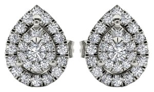 Elizabeth Jewelry 10Kt White Gold 0.25 Ct Diamond Pear Shape Stud Earrings
